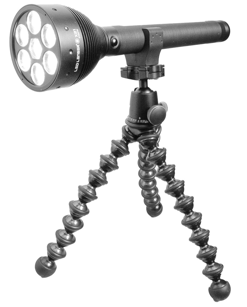 LED Lenser X21 Flashlight mounted on the Gorillapod tripod